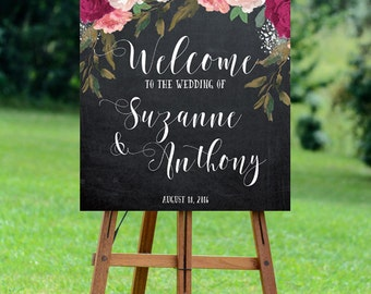 burgundy wedding sign, burgundy welcome sign, welcome wedding sign, digital wedding sign, chalkboard welcome sign, 8x10, 16x20, 18x24, 24x30