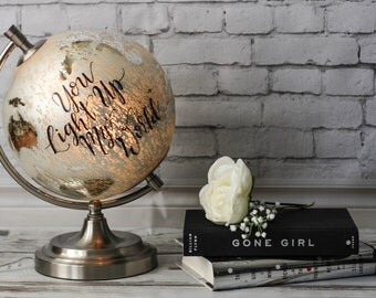 You Light Up My World - Extra Large, Glass Globe, Light Up Globe, Travel, World Globe, Calligraphy, Lamp, Night Light, Mercury Glass