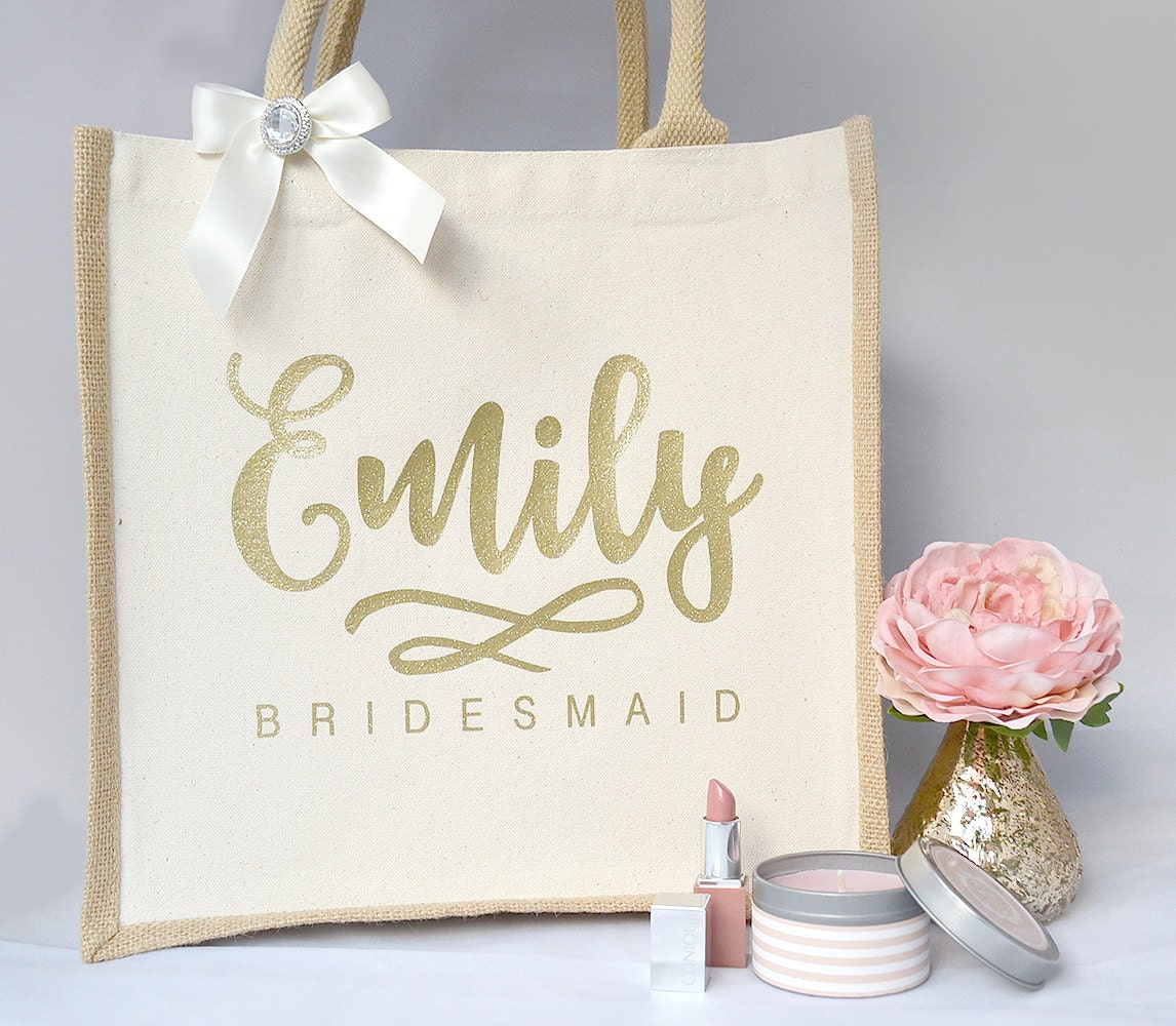 Wedding Gift Ideas For Bridesmaids Uk : Personalised Large Bridesmaid Jute Gift Bag