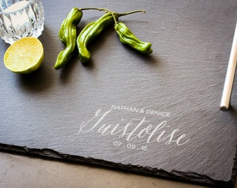 Personalized Cheese Board, Custom Serving Platter, Slate and Stainless Steel, Engraved Cheese Board: Wedding Gift, Housewarming Gift