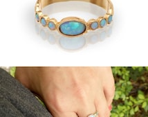 Valentine's Day SALE Blue Opal - Gold Rings - 14k Yellow Gold plated Over Brass - Gemstone Band Oval Stone-Birthstone Rings - Bezel Rings...