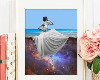 Beach art - Ocean print poster - Surreal