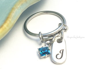 Stainless Steel Adjustable Ring ~ Pewter Charm ~ Birthstone ~ Expandable Bangle ~ Charm Ring ~ Stackable Wire Ring ~ Initial Jewelry