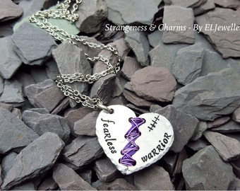 Hand stamped 'Fearless Warrior' Stitched Heart Necklace, Broken Hearts, Warrior, Pain, Stitched Heart, Word Jewellery, Wirework, Heart.