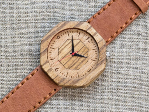 African Zebrano minimal wood watch , Majestic Watch, Terracotta  Genuine Leather strap + Any Engraving / Gift Box. Anniversary  gift