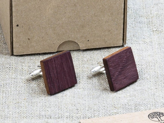 Amaranth  Wood Cufflinks. Personalized Cuff Links. Engraved Monogrammed Initial Cufflinks. Сustom cufflinks. Groomsmen Gift. Xmas gift.