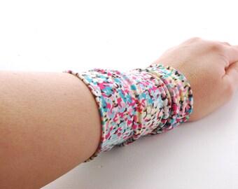 Abstract flower Stretch Wrist Cuff Colourful Jersey Wrist Bracelet Fashion accessory Women Teens Wrist Tattoo Cover