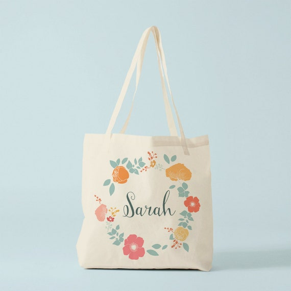 Tote bag, the name of your choice, custom canvas bag, canvas bag, groceries bag, cotton tote, flowers wreath, gift sister, gift coworker.