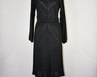 70s black pointelle dress / 1970s acrylic knit dress / nubby knit sweater dress