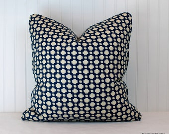 Both Sides - ONE  Schumacher Betwixt Indigo and Ivory Pillow Covers with self cording