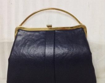 Free Ship Small Black Leather Handbag Purse 50s-60s