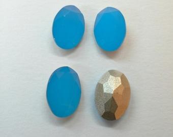 4 unid, Cabochon cristal 10x14mm color carib blue