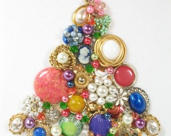 Framed Vintage Jewelry Christmas Tree, Bright by Sunny Day Vintage