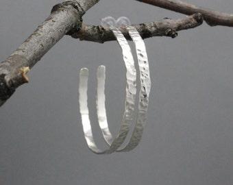 Large Hammer Texture Sterling Silver Hoop Earrings