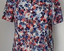 EASTEX Vintage Red Blue White Floral Short Sleeve Buttoned Shirt, Size 10 UK