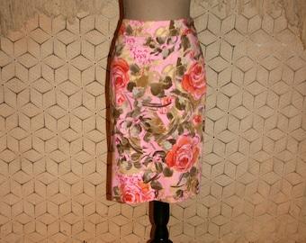 Pink Floral Skirt Spring Skirt Pencil Skirt Midi Skirt XS Small Orange Roses Print Skirt Cotton Size 2 Skirt Size 4 Skirt Womens Clothing
