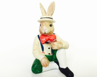 Vintage Rabbit Figurine with Pipe Easter Bunny