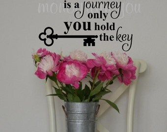 Vinyl Wall Decal 'Life is a journey only you hold the key'