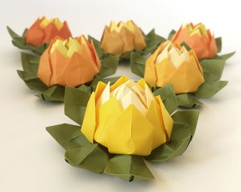Set of 6 Yellow Shades Origami Lotus Flower - For weddings, events, birthdays, parties, showers, etc.