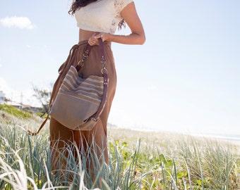 Canvas & Leather Shoulder Bag - Bucket bag - Yoga bag - Tumeric Boho bag - Weekender Bag - summer tote - handmade in Australia