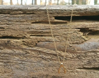 Simple as a Wishbone Gold Necklace
