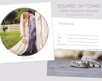 Square Gift Certificate Template - 5x5 Photography Template - Silver - Simple - Easy - Front & Back - Double sided - Wedding Photography