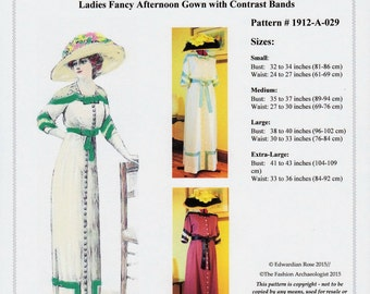 Digital Sewing Pattern~Ladies' 1912 Edwardian Titanic era Afternoon Gown in Sizes SM to XL (in PDF to print at home) Pattern #1912-A-029