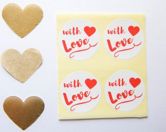 With Love Round Labels - 12 Envelope Seal Stickers - Christmas Gift Tag - Adhesive Gift Labels  Wedding Favor Stickers - With Love Stickers