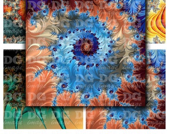 Bright Fractals 4x4 inch Digital Collage Sheet, 4x4 Print for Coasters, Magnets, Greeting Cards, Scrapbook, Card Making, Instant Download