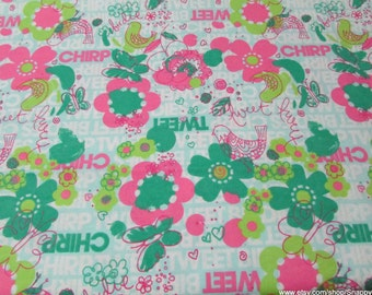 Flannel Fabric - Birdie Tweet Chirp - 1 yard - 100% Cotton Flannel