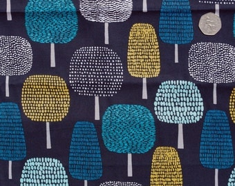 Organic quilting cotton. Blue fabric. Tree print fabric. Organic quilting supplies. Quilt fabric. Cloud 9 fabric. Sold by QUARTER METRE
