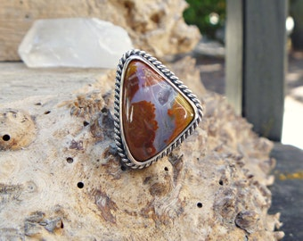 Priday Plume Agate & sterling silver ring // size 6.5 // Agate jewelry // Metaphysical Jewelry // agate jewelry