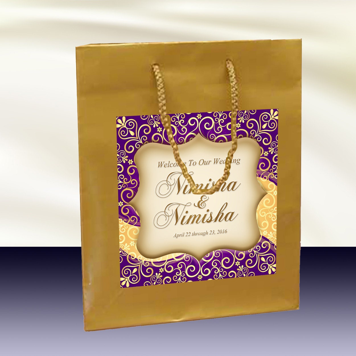 10 Gold Welcome Bags Indian Hindu Inspired Label For Hotel
