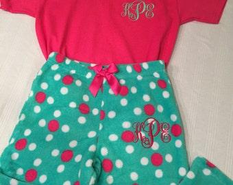 Little Girls Monogrammed Pajama Pant and T-Shirt Set