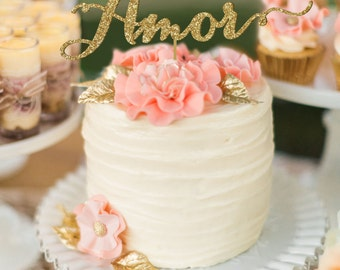 Amor Wedding Cake Topper, Cake Topper, Wedding cake topper, Wedding cake, Cake decoration, Wedding cake toppers, Golden cake topper