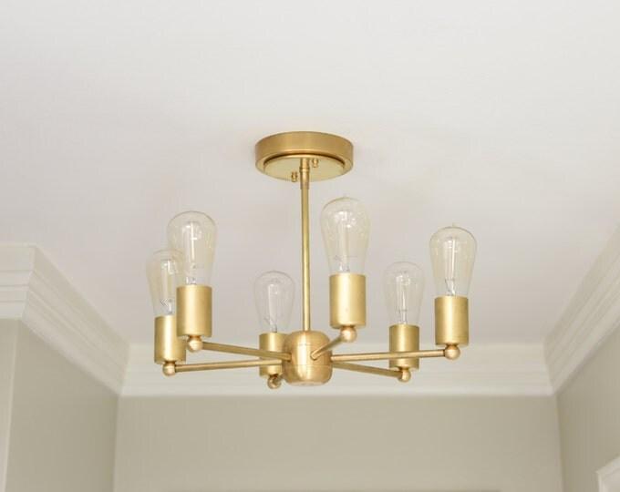 Free Shipping! Modern Chandelier Gold 6 Arm Pinwheel Bulb Brass Sputnik Mid Century Edison Industrial Light Lighting Modern UL Listed