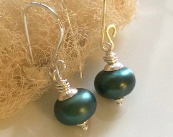 Metallic Green Earrings / Dark Green Glass Earrings / Lampwork Glass Earrings / Sterling Silver Earrings / Glass Dangle Earrings