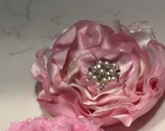 Pink silk heat singed flower headband