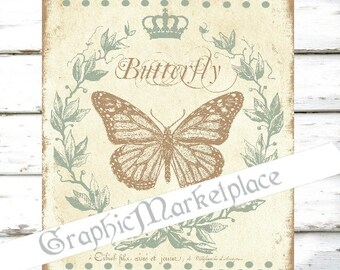 Butterfly Papillon Shabby Chic Insect Polka Dots Transfer Burlap Linen digital collage sheet graphic printable No. 663