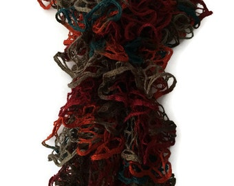 Frilly Ruffle Scarf, Red Orange Soft Bouncy Winter Scarf, Ladies Brown Teal Ruffled Loopy Scarf
