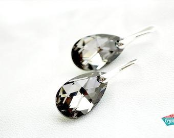 Swarovski Black Crystal Earrings, Crystal Black earrings, Black Swarovski earrings, Black Crystal Drop earrings, Silver Earrings