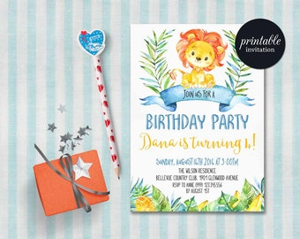 Löwe Geburtstags Einladung, Dschungel Geburtstags Einladung, Jungen  Geburtstags