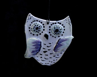 OOAK Hand painted, fused glass hanging ornament. 'Owlet - rustique groovy baby!'  Cute 'dancing' baby owl. 3D fused glass owl. Lilac & Mauve