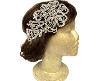 Silver Flapper Headpiece, Gatsby Wedding, Rhinestone Headband, 1920s Dress, Bridal Hair Accessories, Wedding Headpiece, Fascinator, Costume