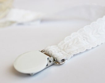 Embroidery White Pacifier Clip, Baptism Pacifier holder, Baby accessories, Binky Clips, Baby Girl, Universal, Paci Clip, Baby Shower Gift