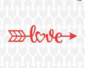 Valentines SVG File - Arrow Love SVG - Love SVG files for Silhouette, Cricut - Vinyl htv Clip art - Commercial use