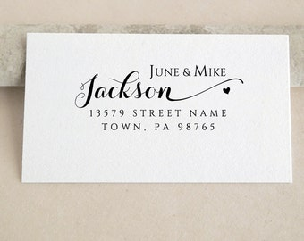 Personalized Custom Wedding Family Names Return Address Stamp Wedding Handle Mounted Rubber Stamp Or Pre-Inked Stamp RE780