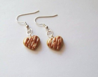 Polymer Clay Caramel Frosted Sugar Cookie Earrings