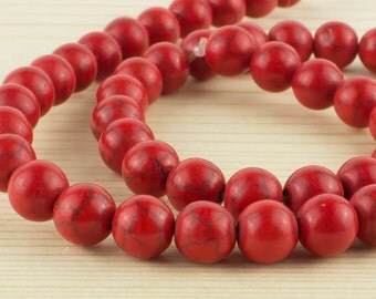 8 mm Red turquoise beads • Red opaque beads • Red turquoise gemstone beads • Round turquoise beads • Red gemstone beads•Semiprecious stone