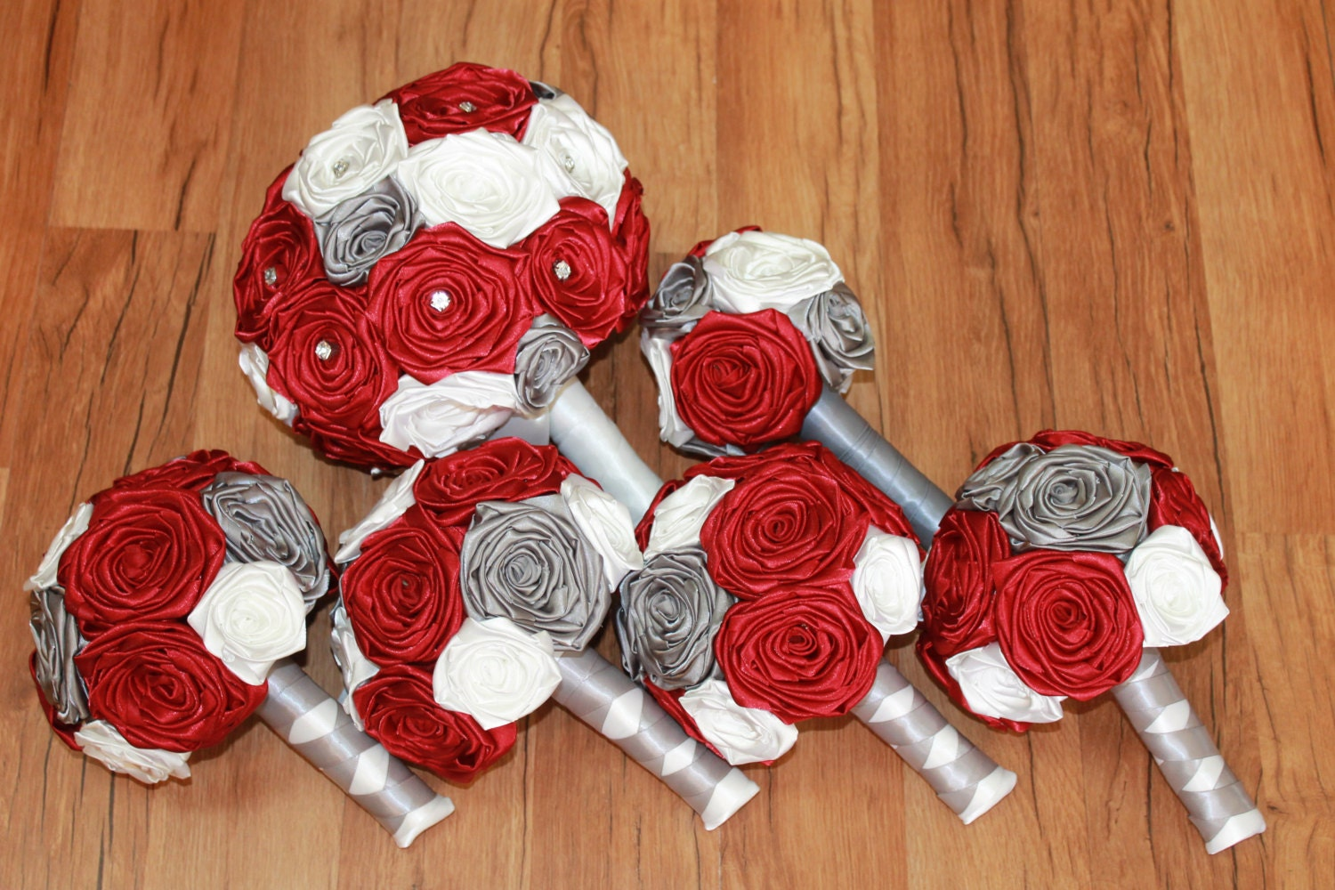 Brick Red Wedding Bouquet Set And Gray Bouquets